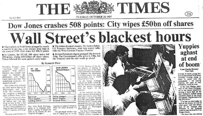 Capa do jornal The Times de 1987 sobre a Black Monday